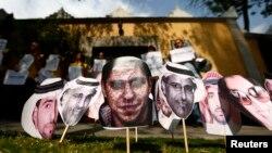 Aktivisti za ljudska prava traže oslobađanje saudijskih aktivista i intelektualaca iz saudijskih zatvora ispred Veleposlanstva Saudijske Arabije u Mexico Cityju, fotoarhiv