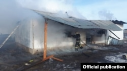 The fire on February 3 raced through a one-story house in the village of Ostemir, 50 kilometers from Almaty, the Interior Ministry's Emergencies Committee said.