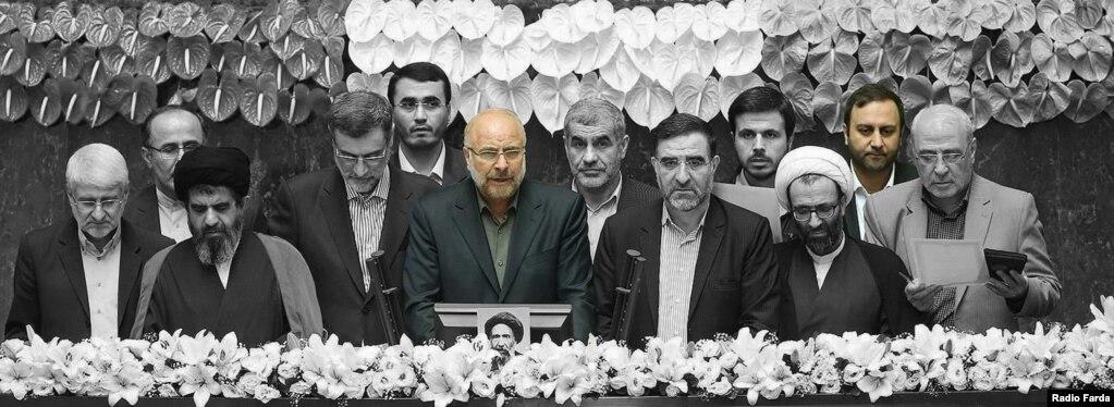 محمدباقر قالیباف و محسن پیرهادی در مراسم سوگند هیئت رئیسه مجلس