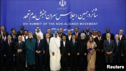 Iran -- Leaders pose for a group photo during the 16th summit of the Non-Aligned Movement in Tehran, 30Aug2012