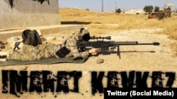 The Twitter account of a Chechen-led militant group posted a photo appearing to show a fighter firing a large-caliber sniper rifle.