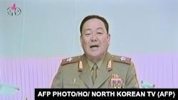 تصویری گرفته شده از تلویزیون کره شمالی، هیان یانگچال را در حالی سخنرانی در سال ۲۰۱۲ نشان میدهد