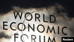The logo of the World Economic Forum in Davos