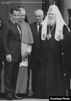 Президент Франции Николя Саркози, кардинал Ечегоррай, Н.И. Кривошеин, Патриарх Алексий II. Елисейский дворец, Париж, 2007г. Визит во Францию патриарха Алексия.