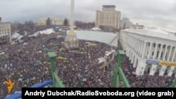 Screen grab from RFE/RL's Ukrainian Service's 8 December video at Euromaidan rally in Kyiv.