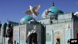The shrine of Hazrat-e Ali, also called the Blue Mosque, in Mazar-e Sharif, in northern Afghanistan