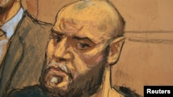 An artist's impression of Muhanad Mahmoud al-Farekh in a federal court last year in New York.