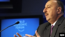 Switzerland -- Ilham Aliyev, President of Azerbaijan, speaks at the World Economic Forum in Davos, 28Jan2010
