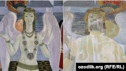 Фреска до (слева) и после реставрации.