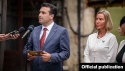 Prime Minister Zoran Zaev and EU foreign policy chief Federica Mogerini in Skopje on September 13