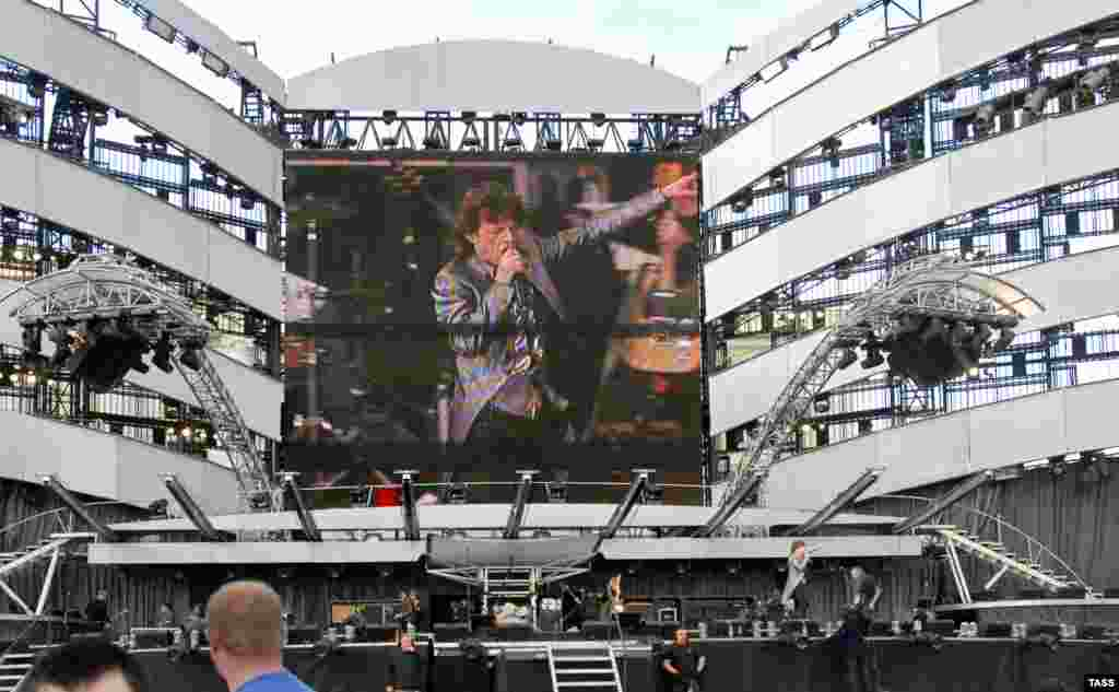"The Stones perform in St. Petersburg, Russia, in 2007, two years after the release of their last studio album, ""A Bigger Bang."""
