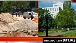 Парк возле памятника Александру Мясникяну до начала застройки и после