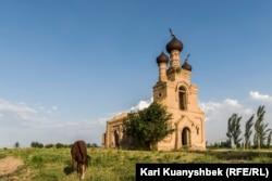 Пасущаяся на привязи лошадь на фоне храма.