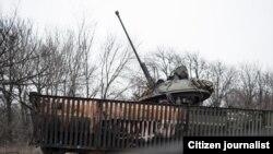 Танк в Углегорске, Донецкая область Украины