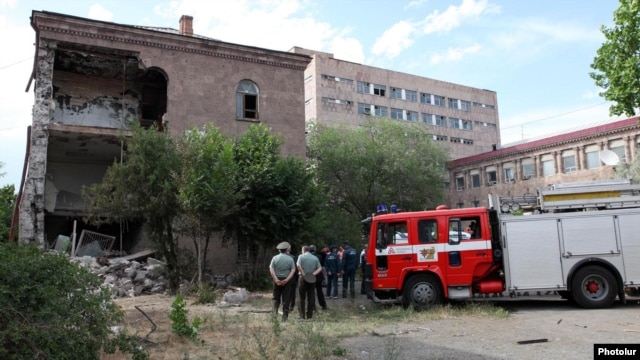 Armenia - A section of the Elektron plant in Yerevan destroyed by an explosion, 29May2012.