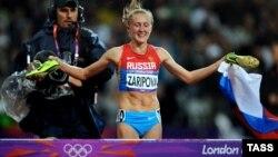 Юлія Заріпова після допінгової перемоги в бігу на 3000 м із перешкодами, Лондон, 7 серпня 2012 року