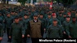 Nicolas Maduro la baza militară din Caracas, 2 mai 2019