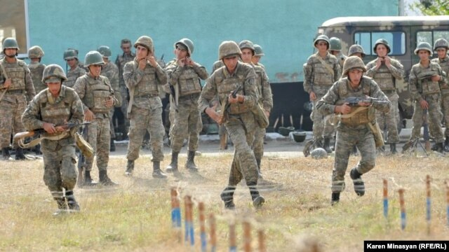 Soldiers train at a military camp in Nagorno-Karabakh in 2012.