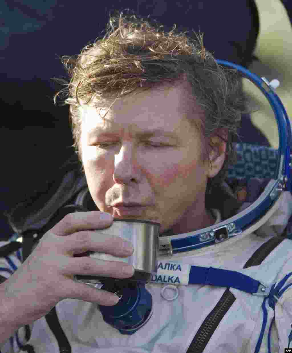 Padalka sips a cup of tea shortly after landing. Padalka has now spent 711 days in space over four different missions, which ranks him fourth on the all-time list.
