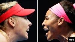 Россиянка Мария Шарапова (слева) и Серена Уильямс из США во время турнира Australian Open. Мельбурн, январь, 2015 года.