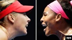Ресейлік Мария Шарапова (сол жақта) мен америкалық Серена Уильямс Australian Open турнирінде. Мельбурн, қаңтар, 2015 жыл.
