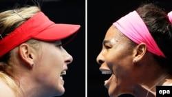 Maria Sharapova (majtas) dhe Serena Williams