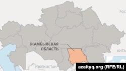 Жамбыл облысының картадағы орны (Көрнекі сурет)