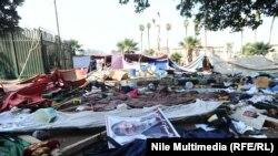 Лагерь демонстрантов в Каире после рейда полиции, 14 августа 2013 года