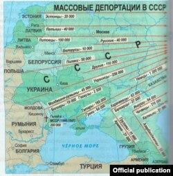 O hartă a deportărilor... (cf. Istoria românilor și universală, clasa a 9-a, Cartier, Chișinău, 2014, p. 86