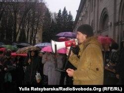 Євген Деркач під час акції протесту навесні 2015 року