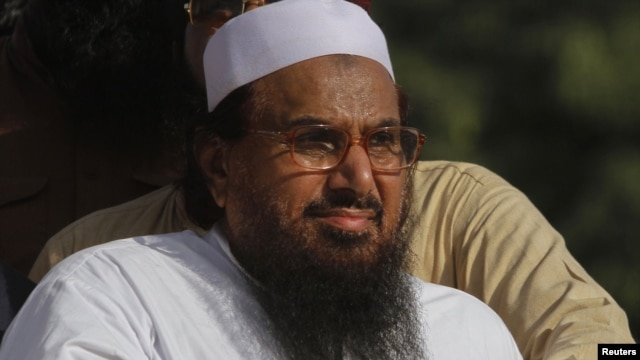 Hafiz Saeed, head of the Jamaat-ud-Dawa organisation and founder of Lashkar-e-Taiba, attends an anti-U.S. rally in Peshawar last  year.