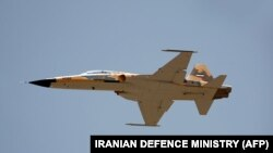 "A handout picture released by Iran's Defense Ministry on August 21, 2018, shows the ""Kowsar"" domestic fighter jet with ""advanced avionics""."