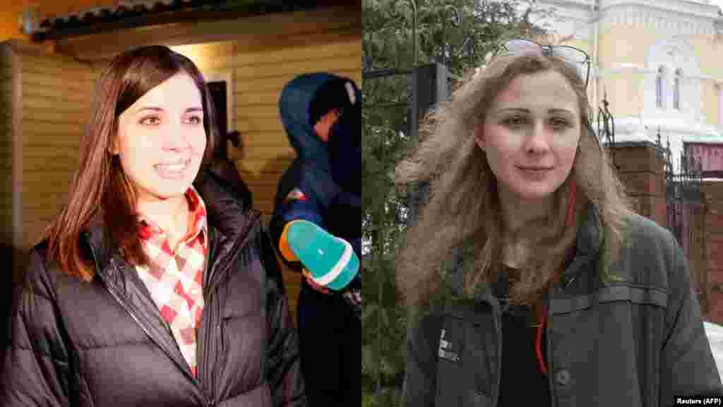 Надежда Толоконникова и Мария Алехина сразу после освобождения, 23 декабря 2013 года