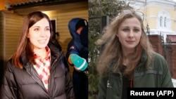 Marija Aljohina i Nadežda Tolokonjikova po izlasku iz zatvora, 23. decembar 2013.