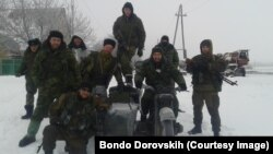 Russian volunteer fighter Bondo Dorovskikh and friends