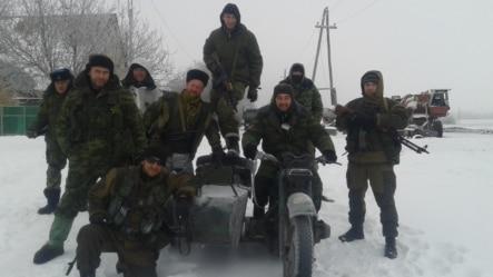 Russian volunteer fighter Bondo Dorovskikh and friends