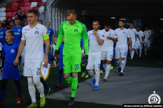 Игроки минского «Динамо» во время чемпионата Беларуси-2019 в футболе
