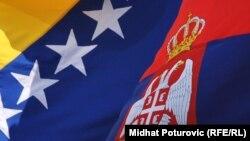 Zastave BiH i Srbije, foto: Midhat Poturović