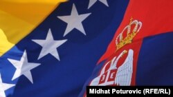 Bosnia and Herzegovina / Serbia - flags, 21Jul2010. Photo: Midhat Poturovic