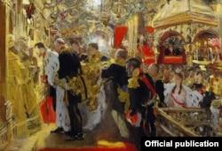 Valentin Serov, Încoronarea țarului Nicolae al II-lea în Catedrala Uspensky din Kremlin (Galeria de stat Tretiakov, Moscova)