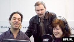 Александр Мельман, Сергей Варшавчик и Анна Качкаева в студии Радио Свобода