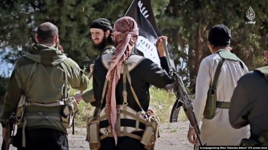 Fighters from the Balkans, including from Kosovo, appear in a propaganda video produced by the Islamic State extremist group in July 2015.