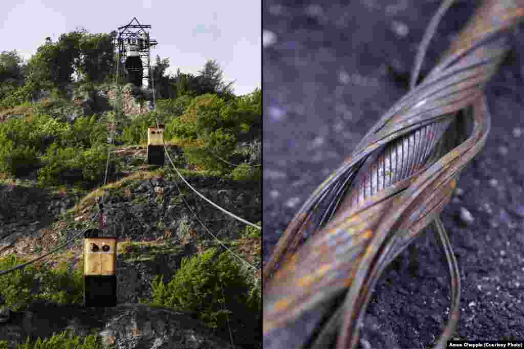 Some of the lines run without a braking system; if the haulage cable snaps, the cabins will roll straight back down the track cable. This happened to a tramway in Tbilisi in 1990, killing 20 people. Right: A discarded piece of track cable. The cables weigh around 26 pounds (12 kilograms) per meter.