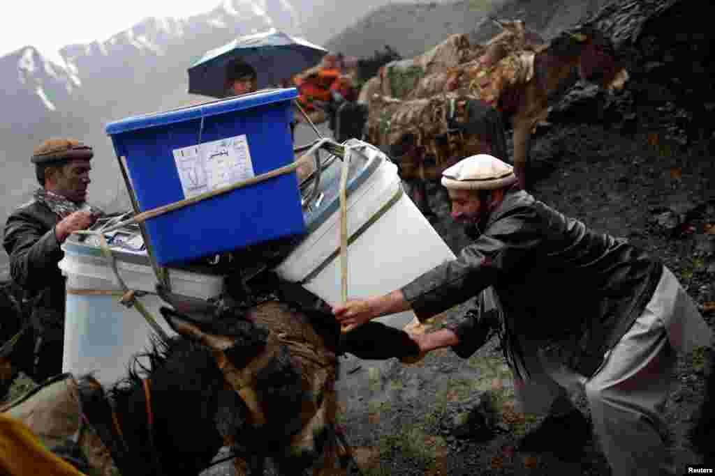 An Afghan man loads ballot boxes and other election material on a donkey to be transported in polling stations that are not accessible by road in Shutul, Panjshir Province, on April 4. (Reuters/Ahmad Masood)