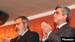 Armenia -- President Serzh Sarkisian (R) and Armenian Revolutionary Federation leader Hrant Markarian celebrate the party's 120th anniversary, 13Dec2010.