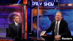 Presidenti Barack Obama gjatë një prej emisioneve, Daily Show me Jon Stewart
