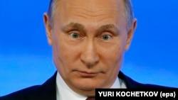 Президент Росії Володимир Путін на минулорічній підсумковій прес-конференції, яка тоді відбулась 23 грудня