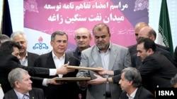 مراسم امضای قرارداد یک میلیارد دلاری توسعه میدان نفت سنگین زاغه.