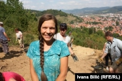 Volunteer digger Marie Sofie has made three visits to the Visoko site.