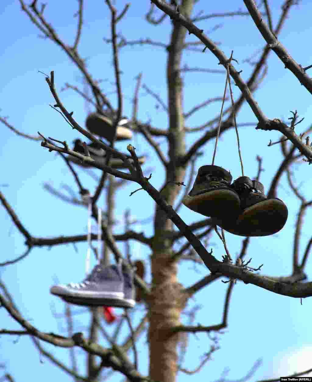 После протеста место его проведения оказалось увешано кроссовками.